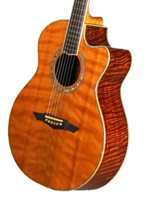 Curly redwood used in this guitar manufactured by PetrosGuitars.com